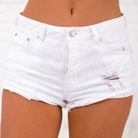 Bright Idea Distressed Shorts (White)