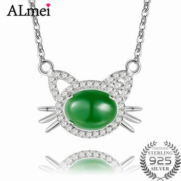 Almei Lovely Cat Design Necklace Brilliant 2ct Green Jasper Rhinestone Animal Pet Charm Silver 925 Jewelry with Box 40% FN056