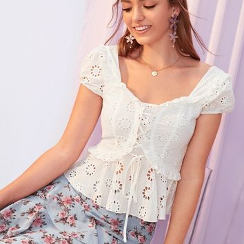 lace-up Front Schiffy Peplum Top