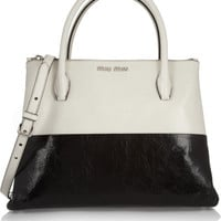 Miu Miu | Two-tone glossed-leather tote | NET-A-PORTER.COM