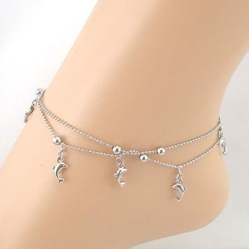 Women Elegant Dolphin Fish Ankle Chain Ankle Bracelet Sexy