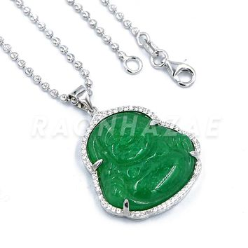 .925 Sterling Silver Iced out Smiling Chubby Buddha (Green Jade) Pendant w/ Moon Cut Ball Chain