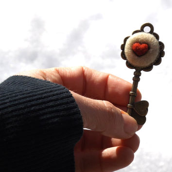 Alice in Wonderland key pendant with heart, bronze key charm with  needle felted red heart