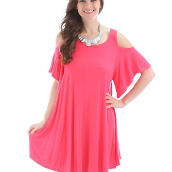 Coral Lyss Loo Open Shoulder Over Sized Tunic Dress