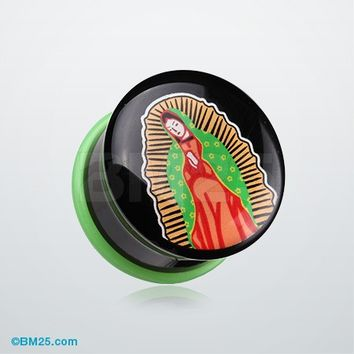 A Pair of Our Lady of Guadalupe Single Flared Ear Gauge Plug