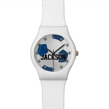 Blue Soccer Ball with Player Name or Text Kids Wristwatch