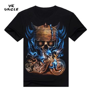 Hip Hop T shirt Men Tshirt T-shirt 3D Sickle Skulls Motorcycle Shackle Printed Casual-shirt Mens Casual Clothes Tee 3XL,YK UNCLE