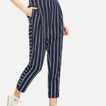 Pocket Side Striped Pants -SheIn(Sheinside)