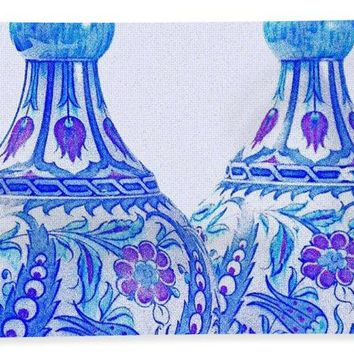 An Ottoman Iznik Style Floral Design Pottery Polychrome, By Adam Asar, No 21c - Bath Towel