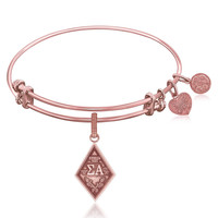 Expandable Bangle in Pink Tone Brass with Sigma Alpha Charm Symbol