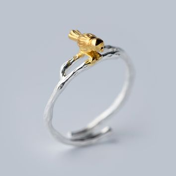 Cute bird 925 Sterling Silver ring, a perfect gift