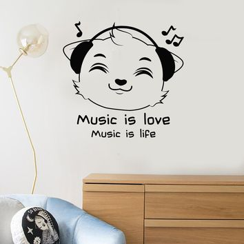 Vinyl Wall Decal Kitten Headphones Quote Musical Room Decor Music Art Stickers Mural (ig5660)
