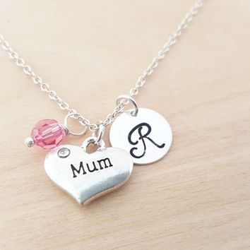 Mum Necklace - Mother Necklace -  Personalized Birthstone Necklace