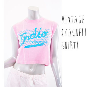 vintage 80s 90s indio cropped top, pink blue crop tank crop, 1980s 1990s coachella, california fashion summer spring 2014 retro retrofit