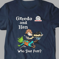 New Star Wars Han Solo Dr Seuss Who Shot Shirts Parody Funny Fine Cotton Jersey Mens and Ladies Womens T-Shirt Unisex Adult Sizes