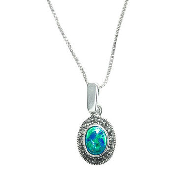Eilat stone Pendant surrounded by Sterling silver and elegant Marcasite