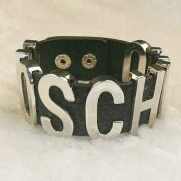 MOSCHINO Stylish Women Simple Personal Metal Pu Leather Bracelet Hand Bracelet Hand Catenary Silver
