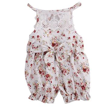 2017 Hot Summer Floral Lace Romper Newborn Baby Girls Clothes Sleeveless Sunsuit Outfits Jumpsuit 0-18M