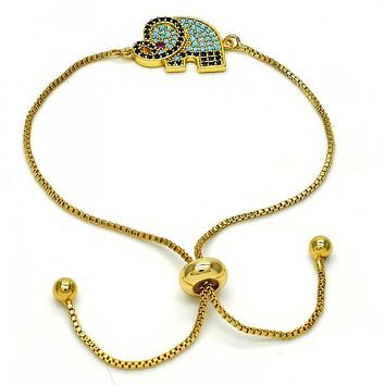 Gold Layered 03.293.0005.10 Fancy Bracelet, Elephant Design, with Multicolor Micro Pave, Polished Finish, Golden Tone