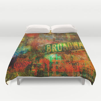 Slice of Broadway Duvet Cover by Ganech Joe