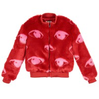 Kenzo Girls Red Faux Fur Jacket (Mini-Me)