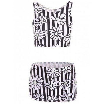 Stylish Round Neck Floral Print Two Piece Women's Swimsuit