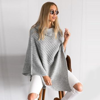 Women Loose Knitted Sweater Casual Jumper Tops Shawl Autumn and winter high-neck knitted fashion sweater shawl #GH30