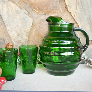 Vintage Emerald Green Ball Pitcher and 7 Matching Glasses, Green Glasses, Anchor Hocking Beverage Set, Bar Ware