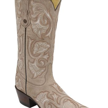 Corral Women's Bone Floral Embroidered Cowgirl Boot Snip Toe - G1086