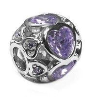 Jovana Sterling Silver Large Love Hearts Charm Purple Crystals Fits Pandora Bracelet