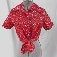 Vintage 1970s Blouse Top Deadstock Red Bandana Print Midi Length Rockabilly Ellie May Clampet Beverly Hill Billies