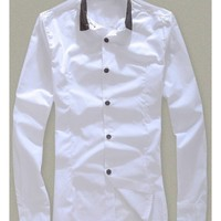 Long Sleeve White Autumn New Style British Style Slim Men Cotton Shirt M/L/XL/XXL @WH0333w $11.99 only in eFexcity.com.