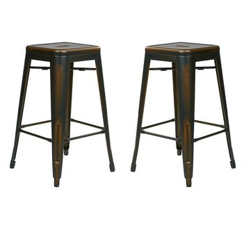 OSP Designs 2-piece Bristow Distressed Counter Stool Set