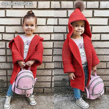 Baby Girls Sweater Coat Autumn Toddler Sweater Long Sleeve Cardigan For Girls Hooded Kids Girls Knitted Clothes Girls Pullover