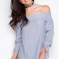 On Vacation Off The Shoulder Top - Navy