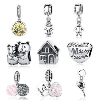 DCCKU62 Authentic Sterling Silver 925 Original Charm Pandora Bracelet Diy Charms Beads Family Mom Sister Baby Jewelry Tree Pendant
