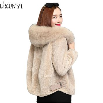 2017 Winter Faux Fur Coat Woman Fox Fur Collar Lamb Wool Coat  Plus Size Loose M- 3XL Zipper Thicker Hooded Outerwear Jackets