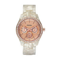 FOSSIL® Watch Styles Rose Watches:Watch Styles Stella Resin Watch - Pearlized White with Rose ES2887