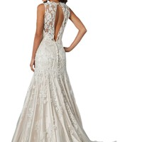 ZHUOLAN White Illusion Mermaid Gown in Beaded Lace Wedding Dress