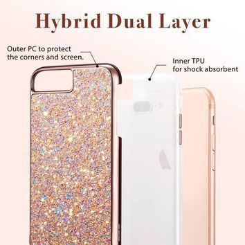 Iphone 8 Plus Case Iphone 7 Plus Case Esr Glitter Bling Hard Cover With Dual Layer Structure [hard Pc Back Outer + Soft Tpu Inner] For Apple 5.5' Iphone 8 Plus/ Iphone 7 Plus(metallic Peach)