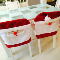 2016 Newest 1pcs 65cmX50cm Christmas Kitchen Chair Covers Santa Claus Christmas Decoration Dinner Chair Decor Free Shipping
