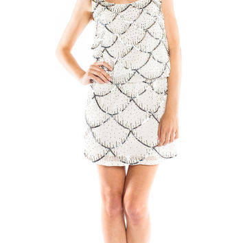 Nicole Miller Scalloped Sequin Cocktail Dress