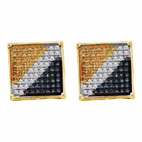 10kt Yellow Gold Mens Round Blue Yellow Color Enhanced Diamond Square Cluster Earrings 1/20 Cttw