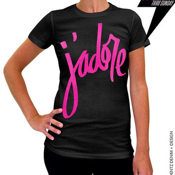 J'adore - Valentine's Day - Black with Pink Women's Tshirt