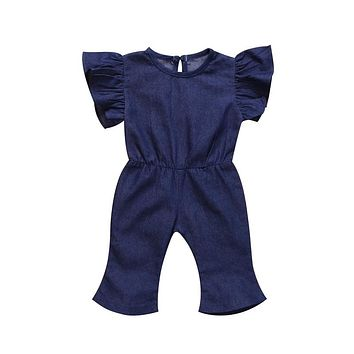 Cute Children Clothing New Summer Denim Romper For Girls Fashion Kids Girl Jean Romper Short Sleeves Jumpsuit Baby Clothing