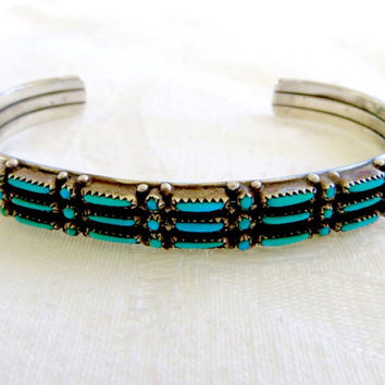 Zuni Petit Point Bracelet, Sterling Snake Eyes Cuff, Vintage Native American Turquoise Jewelry