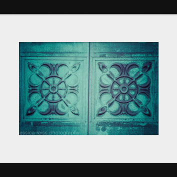 Teal Turquoise Aqua Blue Door Architecture Detail Art Print Photography Modern Tribal Rustic Industrial Shabby Chic Home Decor