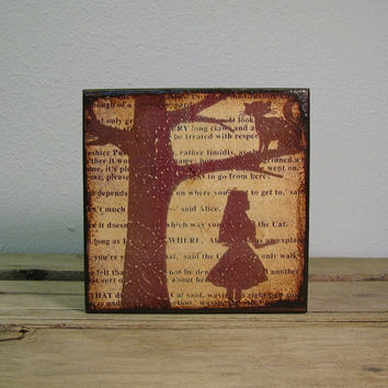 Alice In Wonderland Art Block Painting - Typography Mixed Media Mix and Match Wall Art - 1797