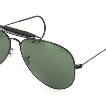 Black Ray-ban Outdoorsman Aviators RB 3030 L9500 58mm + SD Glasses + Cleaning Kit