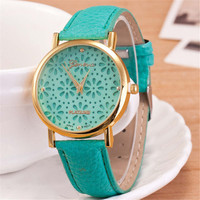 Unisex Unique Casual Floral Leather Strap Watch Best Christmas Gift Watch-441